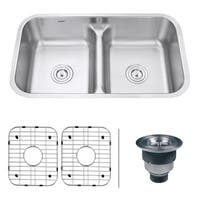 Ruvati 32-inch Low-Divide 50/50 Double Bowl Undermount 16 Gauge Stainless Steel Kitchen Sink - RVM4350