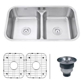 ruvati rvm4350 parma 16gauge steel lowdivide 32inch undermount kitchen sink