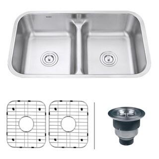 Ruvati 32-inch Low-Divide 50/50 Double Bowl Undermount 16 Gauge Stainless Steel Kitchen Sink - RVM4350