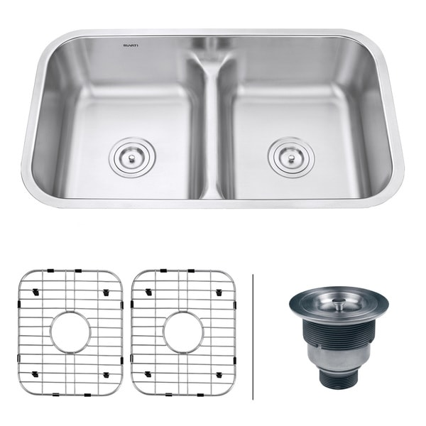 Ruvati RVM43 Low-divide 50/50 Double Bowl Undermount 16-gauge Stainless Steel 32-inch Kitchen Sink