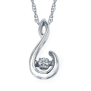 Boston Bay Diamonds 925 Sterling Silver .05ct TDW Diamond Pendant w/ Chain - White
