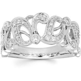 Boston Bay Diamonds 14k White Gold 1/3ct TDW Diamond Filigree Fashion Ring