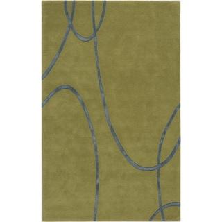 Hand-crafted Splendor Green/ Blue Rug (5' x 8')