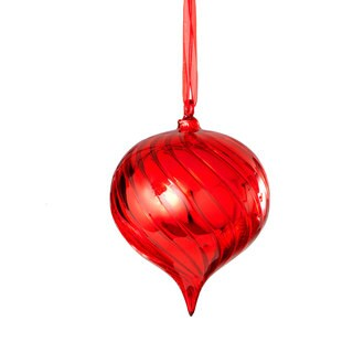 Sage & Co 4-inch Red Swirl Glass Drop Christmas Ornament