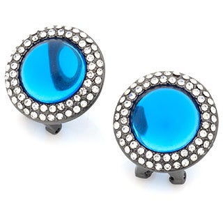 Montana Blue Cabochon Pave Halo Crystal Stud Earrings