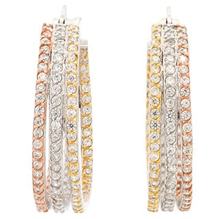 Tri-tone Sterling Silver Pave 3-row Cubic Zirconia Silver Hoop Earrings