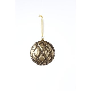 Sage & Co 4-inch Glass Tufted Ball Christmas Ornament (Pack of 4)