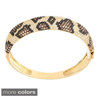 Sterling Silver Pave-set Python Print Cubic Zirconia Bangle Bracelet