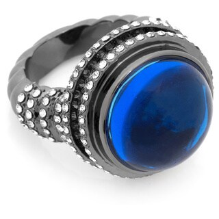 Blue Cabochon Stone with Pave Clear Crystal Dome Hematite Tone Ring