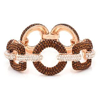 Rose Tone Pave-set Brown Crystal Chain Link Style Bracelet