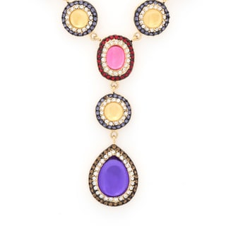 Multicolor Oval Shape Pave Crystal Drop Necklace