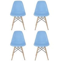 Contemporary Retro Molded Blue Accent Plastic Dining Shell Chair (Set of 4)