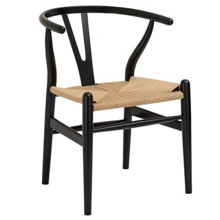 Poly and Bark Black Weave Wishbone Style Y-Arm Chair