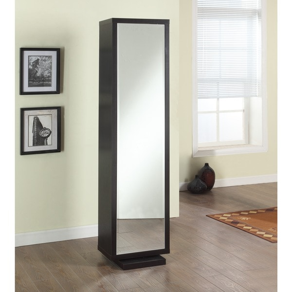 Artiva USA Bella Home Deluxe 71 Inch Merlot Full Length Mirror And Swivel  Cabinet