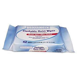 Boardwalk Flushable Moist Wipes, Refill, 7 x 5 1/4, Fresh Scent, 42/Pack, 12 Packs/Carton