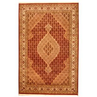 Herat Oriental Indo Hand-knotted Tabriz Wool and Silk Rug (6' x 9')
