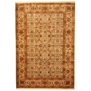 Herat Oriental Indo Hand-knotted Vegetable Dye Green/ Ivory Wool Rug (6'2 x 9')