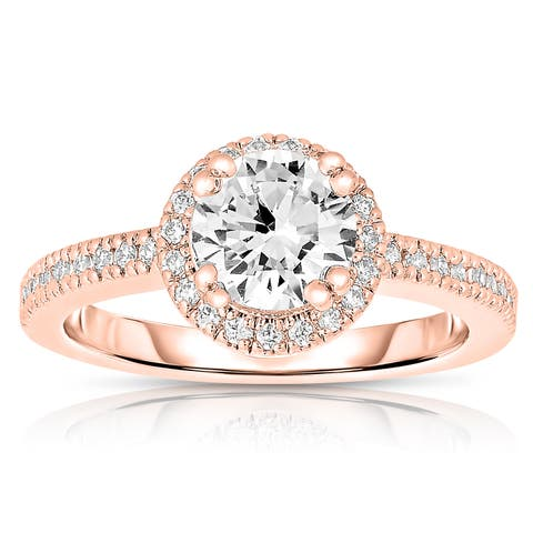 Collette Z Rose Plated Sterling Silver Round-cut Cubic Zirconia Ring