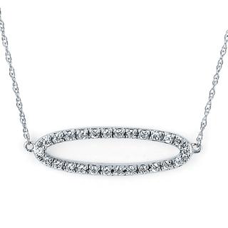 Boston Bay Diamonds 14K White Gold 1/6ct TDW Oval Diamond-encrusted Pendant (I-J, I1-I2)