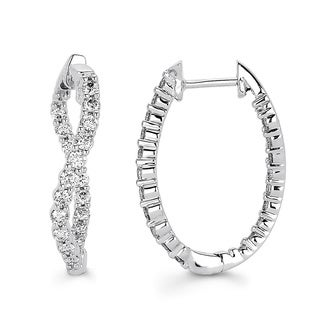 Boston Bay Diamonds 14K White Gold 1ct TDW Diamond Inside-out Oval Twist Hoop Earrings (I-J, I1-I2)