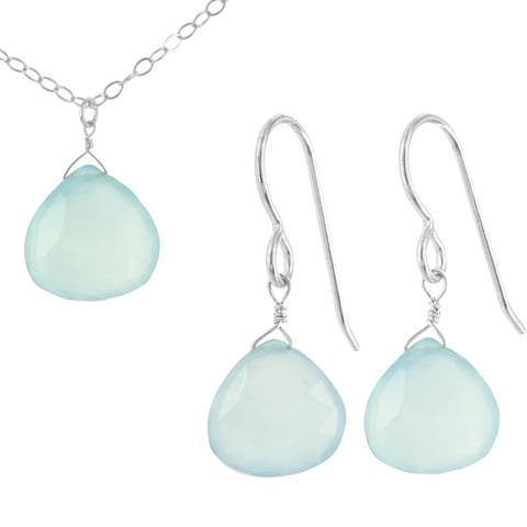 Blue Aqua Chalcedony Gemstone Silver Handmade Earring and Necklace Set
