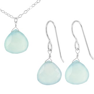 Handmade Ashanti Aqua Chalcedony Gemstone Briolette Sterling Silver Earring and Necklace Set (Sri Lanka)