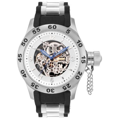 Rougois Men's Automatic Skeleton Naval Diver Black Watch