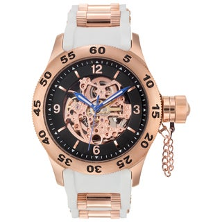 Rougois Rose Gold Men's Automatic Skeleton Naval Diver Watch