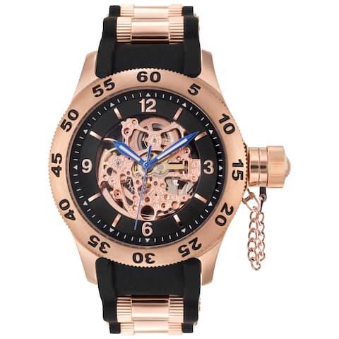 Rougois Rose Gold Men's Automatic Skeleton Naval Diver Black Watch