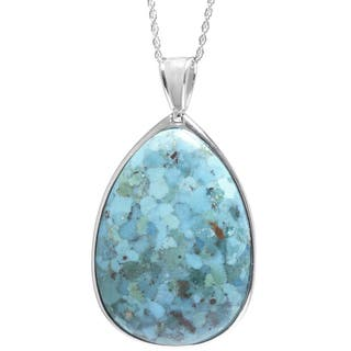 Sterling Silver Turquoise Teardrop Pear Cut Pendant with Filigree Backing and 18-inch Chain Necklace|https://ak1.ostkcdn.com/images/products/9654081/P16836788.jpg?impolicy=medium
