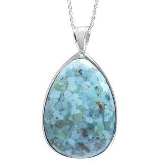 Sterling Silver Turquoise Teardrop Pear Cut Pendant with Filigree Backing and 18-inch Chain Necklace