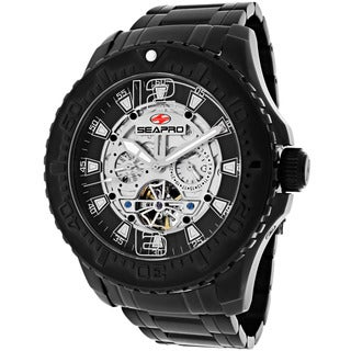 Seapro Men's 'Tidal PX1' Stainless Steel Black Skeleton Watch
