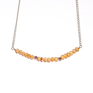 14k Goldfill November Birthstone Natural Citrine Sparkle Beads Necklace