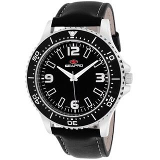 Seapro Men's SP5310 'Tideway' Stainless Steel Black Leather Strap Watch