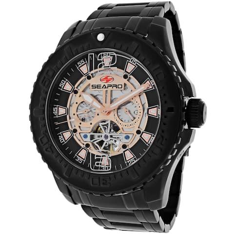 Seapro Men's Tidal PX1 Stainless Steel Black/ Rose Goldtone Skeleton Watch
