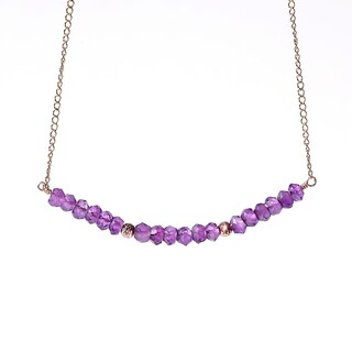 14k Goldfill February Birthstone Amethyst Sparkle Bead Necklace