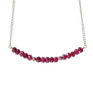 14k Goldfill January Birthstone Rhodolite Garnet Sparkle Beads Necklace