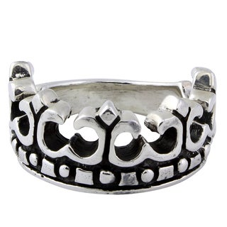 Sterling Silver Motorcycle Rebel Crown Skull Ring