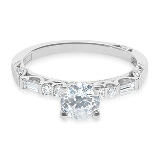 Tacori Platinum 1/4 ctw Diamond Round CZ Center Engagement Ring (G-H, VS1-VS2)