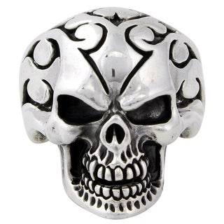 Sterling Silver Flaming Coffin Warlock Skull Ring