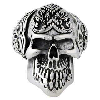 Sterling Silver Wings of the Grim Reaper Skull Ring