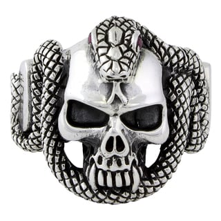 Sterling Silver Legion Snake Skull Ring