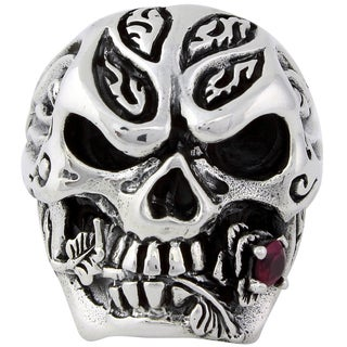 Sterling Silver Red Cubic Zirconia Rose and Skull Ring