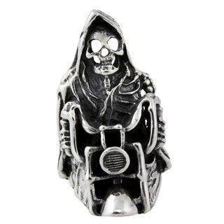 Sterling Silver Ride or Die Death Motorcycle Skull Ring
