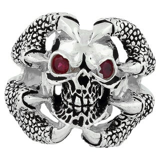 Sterling Silver Red Cubic Zirconia Claw of the Beast Skull Ring