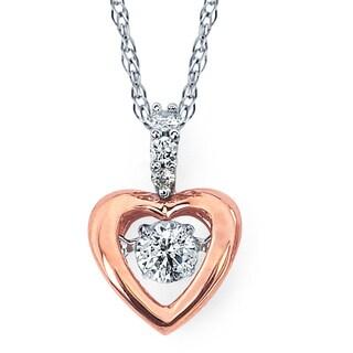 Boston Bay Diamonds 14k White & Rose Gold 1/6ct TDW Diamond Heart Pendant w/ Chain
