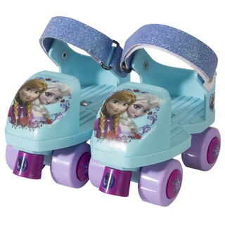 Disney Frozen Kids Glitter Rollerskate Junior Size 6-12 with Knee Pads