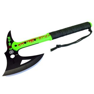 Zomb-War 16-inch Tactical Axe with Black Blade and Paracord Wrapped Handle