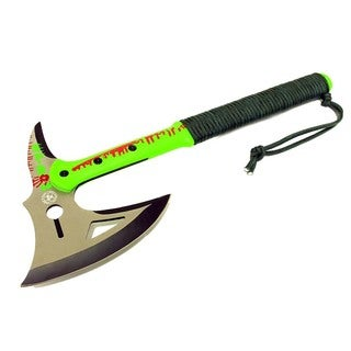 Zomb-War 16-inch Green Tactical Axe with Sheath and Paracord Handle