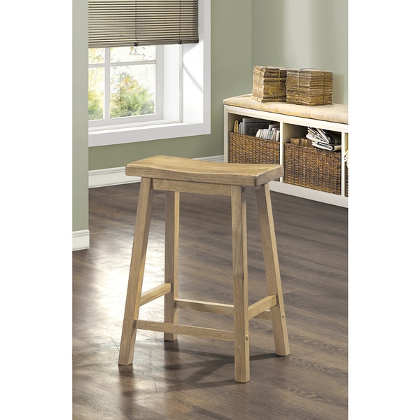 natural 24inch saddle seat bar stool set of 2